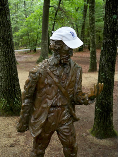 Statue of Henry D. Thoreau with Pure Sport cap